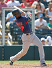 FORT MYERS, FL, March 30, 2012: Boston Red Sox batter Pedro Ciriaco swings at a pitch from Minnesota Twins pitcher Brian Duensing in the eighth inning of a Grapefruit League spring training game at Hammond Stadium. (Brita Meng Outzen/Boston Red Sox)