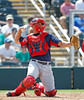 FORT MYERS, FL, March 30, 2012: Boston Red Sox catcher Ryan Lavarnway throws the baseball back to pitcher Mark Melanson in the ninth inning of a Grapefruit League spring training game at Hammond Stadium. (Brita Meng Outzen/Boston Red Sox)