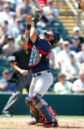FORT MYERS, FL, March 30, 2012: Boston Red Sox catcher Jarrod Saltalamacchia prepares to catch a foul popup hit by Minnesota Twins batter Justin Morneau in the fourth inning of a Grapefruit League spring training game at Hammond Stadium. (Brita Meng Outzen/Boston Red Sox)