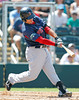 FORT MYERS, FL, March 30, 2012: Boston Red Sox batter Bryce Brentz swings at a pitch from Minnesota Twins pitcher Jeff Gray in the seventh inning of a Grapefruit League spring training game at Hammond Stadium. (Brita Meng Outzen/Boston Red Sox)