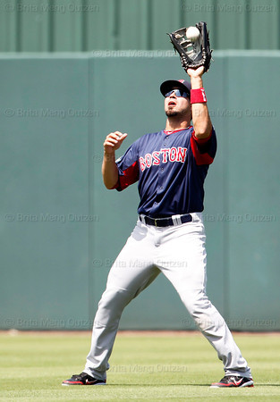 FORT MYERS, FL, March 30, 2012: Boston Red Sox center fielder Jason Repko catches a fly ball hit by Minnesota Twins batter Brian Dozier in the sixth inning of a Grapefruit League spring training game at Hammond Stadium. (Brita Meng Outzen/Boston Red Sox)