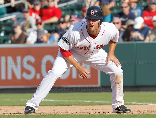FORT MYERS, FL, March 4, 2012: Boston Red Sox base runner Alex Hassan takes a lead off first base in the eighth inning of a Grapefruit League game against the Minnesota Twins at JetBlue Park at Fenway South. (Brita Meng Outzen/Boston Red Sox)