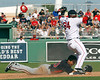 FORT MYERS, FL, March 4, 2012: Boston Red Sox second baseman Oscar Tejeda, right, stumbles backwards after landing on Minnesota Twins base runner Ray Chang at second base while trying to turn a  double play in the seventh inning of a a Grapefruit League game at JetBlue Park at Fenway South. (Brita Meng Outzen/Boston Red Sox)