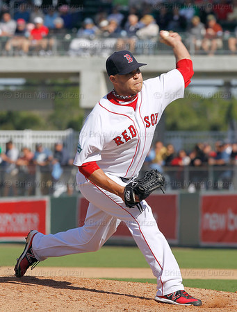 FORT MYERS, FL, March 4, 2012: Boston Red Sox pitcher Justin Thomas delivers a pitch to a Minnesota Twins batter in the sixth inning of a Grapefruit League game at JetBlue Park at Fenway South. (Brita Meng Outzen/Boston Red Sox)
