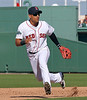 FORT MYERS, FL, March 4, 2012: Boston Red Sox shortstop Jose Iglesias chases after a baseball hit by a Minnesota Twins batter in the seventh inning of a Grapefruit League game at JetBlue Park at Fenway South. (Brita Meng Outzen/Boston Red Sox)