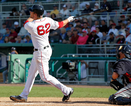FORT MYERS, FL, March 4, 2012: Boston Red Sox batter Lars Anderson watches his grand slam home run off Minnesota Twins pitcher Jason Bulger in the seventh inning of a Grapefruit League game at JetBlue Park at Fenway South. (Brita Meng Outzen/Boston Red Sox)