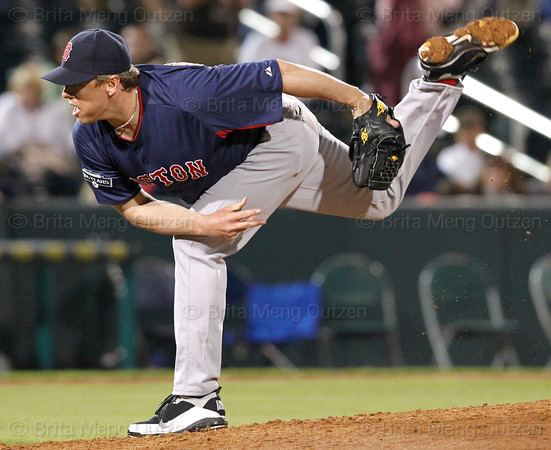 FORT MYERS, FL, March 5, 2012: Boston Red Sox pitcher Brandon Duckworth delivers the baseball to a Minnesota Twins batter in the seventh inning of a Grapefruit League game at Hammond Stadium. (Brita Meng Outzen/Boston Red Sox)