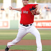 FORT MYERS, FL, March 22, 2012: The Boston Red Sox pitcher Aaron Cook throws a pitch to a New York Yankees batter in the first inning of a Grapefruit League spring training game at JetBlue Park at Fenway South. (Brita Meng Outzen/Boston Red Sox)