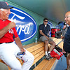 FORT MYERS, FL, March 22, 2012: Boston Red Sox manager Bobby Valentine, left, chats with former Boston Red Sox manager and current ESPN baseball analyst Terry Francona in the dugout during batting practice before a Grapefruit League spring training game against the New York Yankees at JetBlue Park at Fenway South. (Brita Meng Outzen/Boston Red Sox)