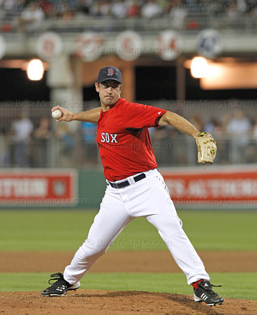 FORT MYERS, FL, March 22, 2012: Boston Red Sox pitcher Ross Ohlendorf throws a pitch to a New York Yankees batter in the fifth inning of a Grapefruit League spring training game at JetBlue Park at Fenway South. (Brita Meng Outzen/Boston Red Sox)