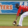 FORT MYERS, FL, March 22, 2012: Boston Red Sox second baseman Pedro Ciriaco fields a ground ball hit by New York Yankees batter Raul Ibanez in the fourth inning of a Grapefruit League spring training game at JetBlue Park at Fenway South. (Brita Meng Outzen/Boston Red Sox)
