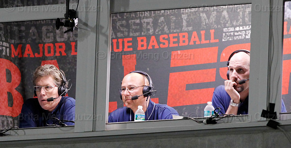 FORT MYERS, FL, March 22, 2012: From left, ESPN's Sunday Night Baseball team, Orel Hershiser, Terry Francona and Dan Shulman, call the Grapefruit League spring training game between the Boston Red Sox and New York Yankees at JetBlue Park at Fenway South. (Brita Meng Outzen/Boston Red Sox)