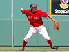 FORT MYERS, FL, March 24, 2012: Boston Red Sox shortstop Jonathan Hee throws out Philadelphia Phillies batter Freddy Galvis at first base in the seventh inning of a Grapefruit League spring training game at JetBlue Park at Fenway South. (Brita Meng Outzen/Boston Red Sox)