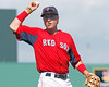 FORT MYERS, FL, March 24, 2012: Boston Red Sox third baseman Kolbrin Vitek tosses a foul ball to the Red Sox dugout in the eighth inning of a Grapefruit League spring training game against the Philadelphia Phillies at JetBlue Park at Fenway South. (Brita Meng Outzen/Boston Red Sox)