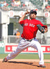 FORT MYERS, FL, March 24, 2012: Boston Red Sox pitcher Vincente Padilla throws a pitch to a Philadelphia Phillies batter in the eighth inning of a Grapefruit League spring training game at JetBlue Park at Fenway South. (Brita Meng Outzen/Boston Red Sox)