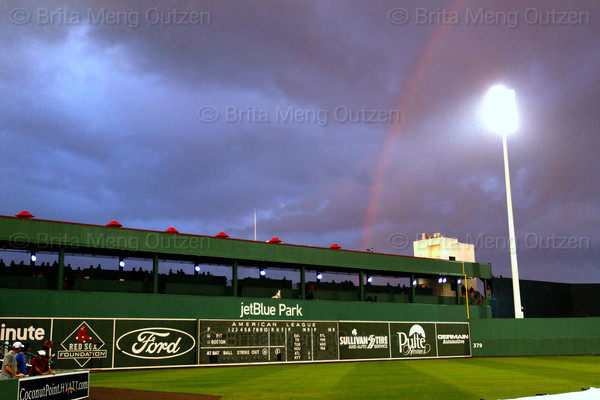FORT MYERS, FL, March 9, 2012:  A rainbow appears over JetBlue Park at Fenway South during a brief evening shower before the Grapefruit League game between the Boston Red Sox and Pittsburgh Pirates. (Brita Meng Outzen/Boston Red Sox)