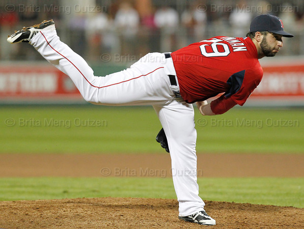 FORT MYERS, FL, March 9, 2012: Boston Red Sox pitcher Will Inman follows through on a pitch to a Pittsburgh Pirates batter in the sixth inning of a Grapefruit League spring training game at JetBlue Park at Fenway South. (Brita Meng Outzen/Boston Red Sox)