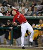 FORT MYERS, FL, March 9, 2012: Boston Red Sox first baseman Nate Spears reaches back to catch a foul popup hit by Pittsburgh Pirates batter Tony Sanchez in the eighth inning of a Grapefruit League spring training game at JetBlue Park at Fenway South. (Brita Meng Outzen/Boston Red Sox)