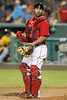 FORT MYERS, FL, March 9, 2012: Boston Red Sox catcher Daniel Butler looks to the dugout before the seventh inning of a Grapefruit League spring training game against the Pittsburgh Pirates at JetBlue Park at Fenway South. (Brita Meng Outzen/Boston Red Sox)