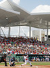 FORT MYERS, FL, March 27, 2012: Boston Red Sox batter Dustin Pedroia swings at a pitch from Tampa Bay Rays pitcher Fernando Rodney in the first inning of a Grapefruit League spring training game at JetBlue Park at Fenway South. (Brita Meng Outzen/Boston Red Sox)
