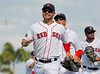 FORT MYERS, FL, March 27, 2012: From left, Boston Red Sox players Cody Ross, Ryan Sweeney and Jason Repko celebrate following Boston's victory over the Tampa Bay Rays in a Grapefruit League spring training game at JetBlue Park at Fenway South. (Brita Meng Outzen/Boston Red Sox)