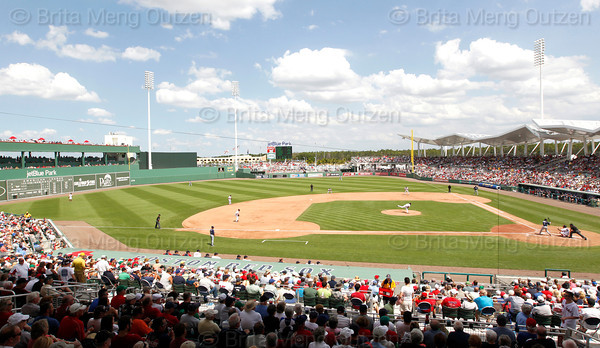 FORT MYERS, FL, March 27, 2012: Boston Red Sox pitcher Josh Beckett throws a pitch to a Tampa Bay Rays batter in the fourth inning of a Grapefruit League spring training game at JetBlue Park at Fenway South. (Brita Meng Outzen/Boston Red Sox)
