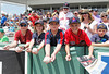 FORT MYERS, FL, March 27, 2012: A group of young fans look for autographs from Boston Red Sox players prior to their game against the Tampa Bay Rays in a Grapefruit League spring training game at JetBlue Park at Fenway South. (Brita Meng Outzen/Boston Red Sox)