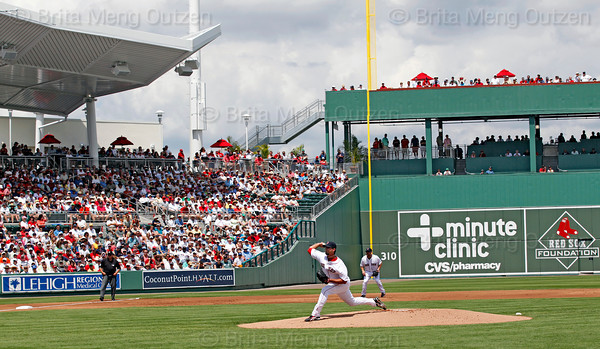 FORT MYERS, FL, March 27, 2012: Boston Red Sox pitcher Josh Beckett throws a pitch to a Tampa Bay Rays batter in the first inning of a Grapefruit League spring training game at JetBlue Park at Fenway South. (Brita Meng Outzen/Boston Red Sox)