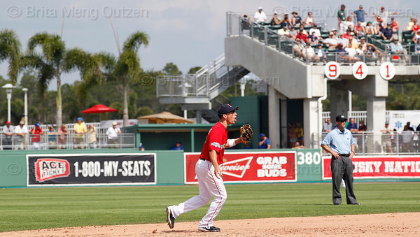 FORT MYERS, FL, March 29, 2012: Boston Red Sox shortstop Nate Spears warns teammates about a Toronto Blue Jays base runner in the eighth inning of a Grapefruit League spring training game at JetBlue Park at Fenway South. (Brita Meng Outzen/Boston Red Sox)