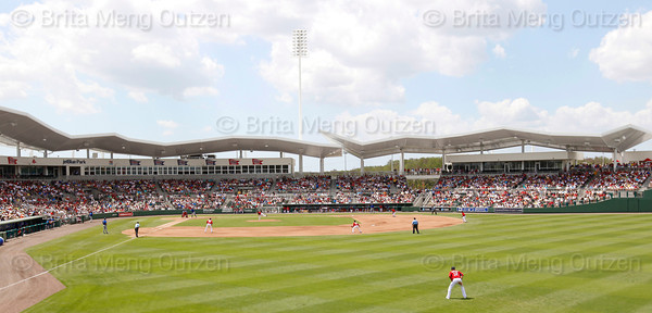 FORT MYERS, FL, March 29, 2012: The Boston Red Sox play the Toronto Blue Jays in a Grapefruit League spring training game at JetBlue Park at Fenway South. (Brita Meng Outzen/Boston Red Sox)