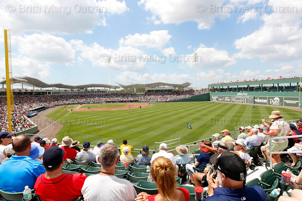 FORT MYERS, FL, March 29, 2012: Fans in the right field grandstand watch the Boston Red Sox play the Toronto Blue Jays in a Grapefruit League spring training game at JetBlue Park at Fenway South. (Brita Meng Outzen/Boston Red Sox)