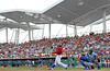 FORT MYERS, FL, March 29, 2012: Boston Red Sox batter Ryan Sweeney hits a ground ball off a pitch from Toronto Blue Jays pitcher Luis Perez in the sixth inning of a Grapefruit League spring training game at JetBlue Park at Fenway South. (Brita Meng Outzen/Boston Red Sox)