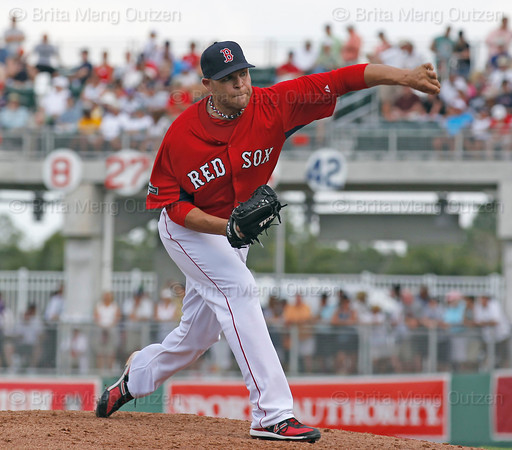 FORT MYERS, FL, March 29, 2012: Boston Red Sox pitcher Justin Thomas throws a pitch to a Toronto Blue Jays batter in the seventh inning of a Grapefruit League spring training game at JetBlue Park at Fenway South. (Brita Meng Outzen/Boston Red Sox)