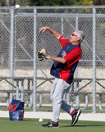 FORT MYERS, FL, Feb. 21, 2012: Boston Red Sox manager Bobby Valentine plays catch with pitcher Daisuke Matsuzaka, not shown, as Red Sox pitchers and catchers have their first formal workout at Spring Training. (Brita Meng Outzen/Boston Red Sox)