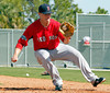 FORT MYERS, FL, Feb. 22, 2012: Boston Red Sox pitcher Andrew Bailey catches the baseball while covering home plate during pitchers' fielding practice drills at Spring Training workouts. (Brita Meng Outzen/Boston Red Sox)