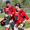 FORT MYERS, FL, Feb. 22, 2012: Boston Red Sox catchers Max St. Pierre, left, and Daniel Butler walk to their next drill during workouts at Spring Training. (Brita Meng Outzen/Boston Red Sox)