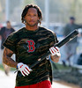FORT MYERS, FL, Feb. 23, 2012: Boston Red Sox outfielder Darnell McDonald heads to the indoor batting cages at Spring Training workouts. (Brita Meng Outzen/Boston Red Sox)