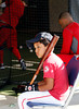 FORT MYERS, FL, Feb. 23, 2012: D'Angelo Ortiz, center, son of Boston Red Sox designated hitter David Ortiz, waits for his father in the batting cage during Spring Training workouts. (Brita Meng Outzen/Boston Red Sox)