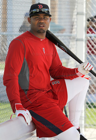 FORT MYERS, FL, Feb. 23, 2012: Boston Red Sox left fielder Carl Crawford sits in the dugout of a practice field during Spring Training workouts. (Brita Meng Outzen/Boston Red Sox)