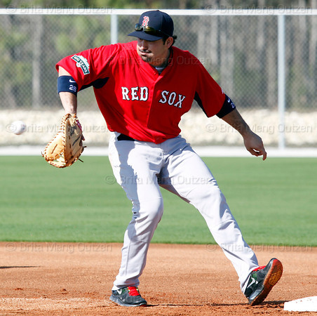FORT MYERS, FL, Feb. 23, 2012: Boston Red Sox first baseman Adrian Gonzalez catches a throw from a pitcher during pitchers' fielding practice at Spring Training workouts. (Brita Meng Outzen/Boston Red Sox)