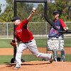 FORT MYERS, FL, Feb. 23, 2012: Boston Red Sox pitcher Justin Thomas, left, releases the baseball while pitching live batting practice as Latin America pitching coordinator Goose Gregson watches during Spring Training workouts. (Brita Meng Outzen/Boston Red Sox)