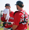 FORT MYERS, FL, Feb. 23, 2012: Boston Red Sox pitcher Jon Lester, left, wipes his face as he talked to catcher Jarrod Saltalamacchia before throwing live batting practice for the first time at Spring Training workouts. (Brita Meng Outzen/Boston Red Sox)