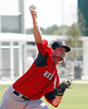 FORT MYERS, FL, Feb. 23, 2012: Boston Red Sox pitcher Clay Buchholz delivers a pitch while throwing live batting practice to Red Sox minor league hitters at Spring Training workouts. (Brita Meng Outzen/Boston Red Sox)