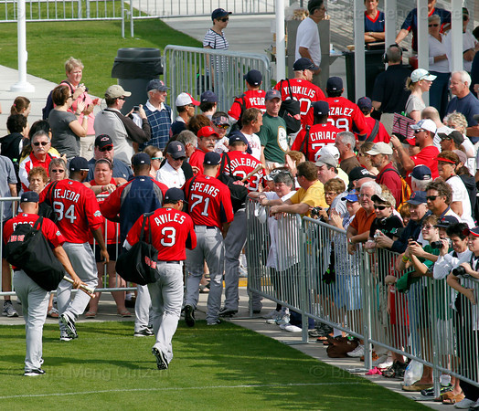 FORT MYERS, FL, Feb. 25, 2012: Boston Red Sox players walk by fans on the way to the practice fields at the team's first full squad Spring Training workout. (Brita Meng Outzen/Boston Red Sox)