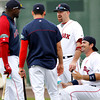 FORT MYERS, FL, Feb. 26, 2012: From left, Boston Red Sox designated hitter David Ortiz, center fielder Jacoby Ellsbury, third baseman Kevin Youkilis and first baseman Adrian Gonzalez chat while waiting for batting practice at Spring Training. (Brita Meng Outzen/Boston Red Sox)