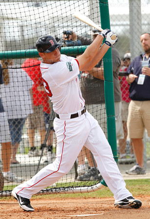 FORT MYERS, FL, Feb. 26, 2012: Boston Red Sox batter Will Middlebrooks swings at a pitch from \teammate Andrew Miller, not shown, during live batting practice at Spring Training workouts. (Brita Meng Outzen/Boston Red Sox)