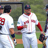 FORT MYERS, FL, Feb. 26, 2012: Boston Red Sox pitcher Josh Beckett, center, smiles while talking with, from left, Portland pitching coach Bob Kipper, Adrian Gonzalez, Dustin Pedroia and Jarrod Saltalamacchia pitching live batting practice to Gonzalez and Pedroia at Spring Training workouts. (Brita Meng Outzen/Boston Red Sox)
