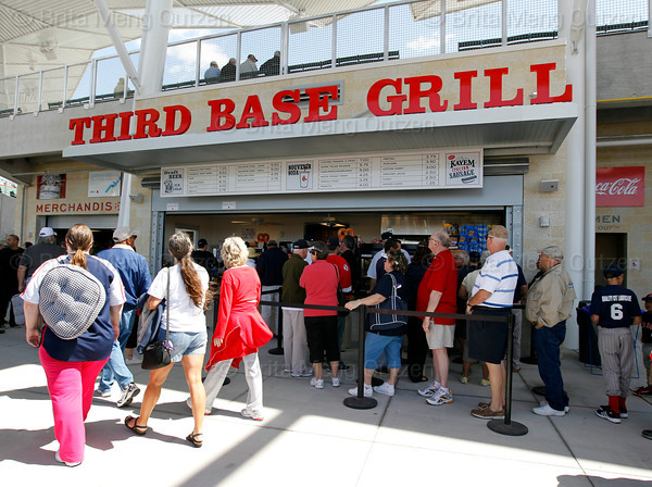 FORT MYERS, FL, March 4, 2012: Fans line up for food at the Third Base Grill, located behind third base inside JetBlue Park at Fenway South, before the Opening Day game between the Boston Red Sox and Minnesota Twins. (Brita Meng Outzen/Boston Red Sox)