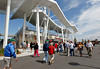 FORT MYERS, FL, March 4, 2012: Baseball fans walk in front of JetBlue Park at Fenway South before the Boston Red Sox game against the Minnesota Twins on Opening Day. (Brita Meng Outzen/Boston Red Sox)