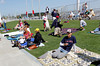 FORT MYERS, FL, March 4, 2012: Baseball fans spread blankets in the grass seating area at JetBlue Park at Fenway South before the Boston Red Sox game against the Minnesota Twins on Opening Day. (Brita Meng Outzen/Boston Red Sox)